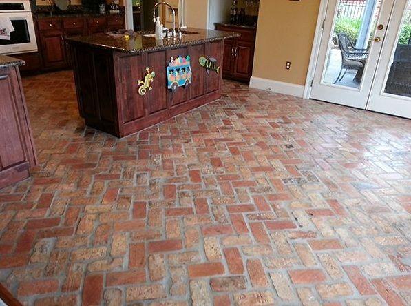 Indoor brick pavers flooring in kitchen Flooring Ideas Floor