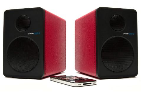 Grace Digital Gdi Btsp207 Powered Bookshelf Aptx Bluetooth Speakers Red Pair Bluetooth Speaker Set Bluetooth Bluetooth Speaker