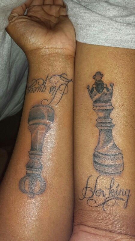 King And Queen Chess Piece Tattoo Image