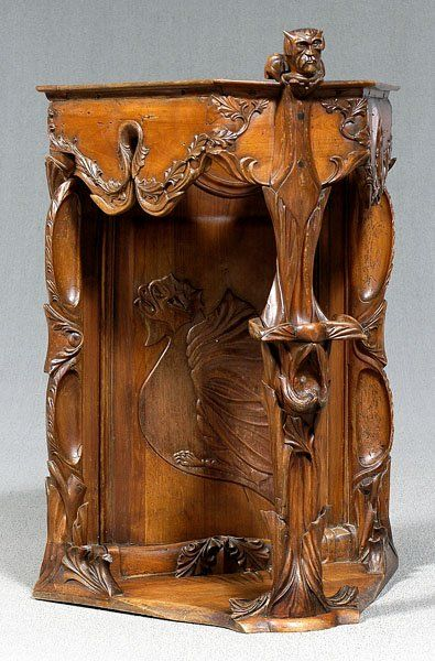 529: Art Nouveau carved corner cabinet, on | Art nouveau ...