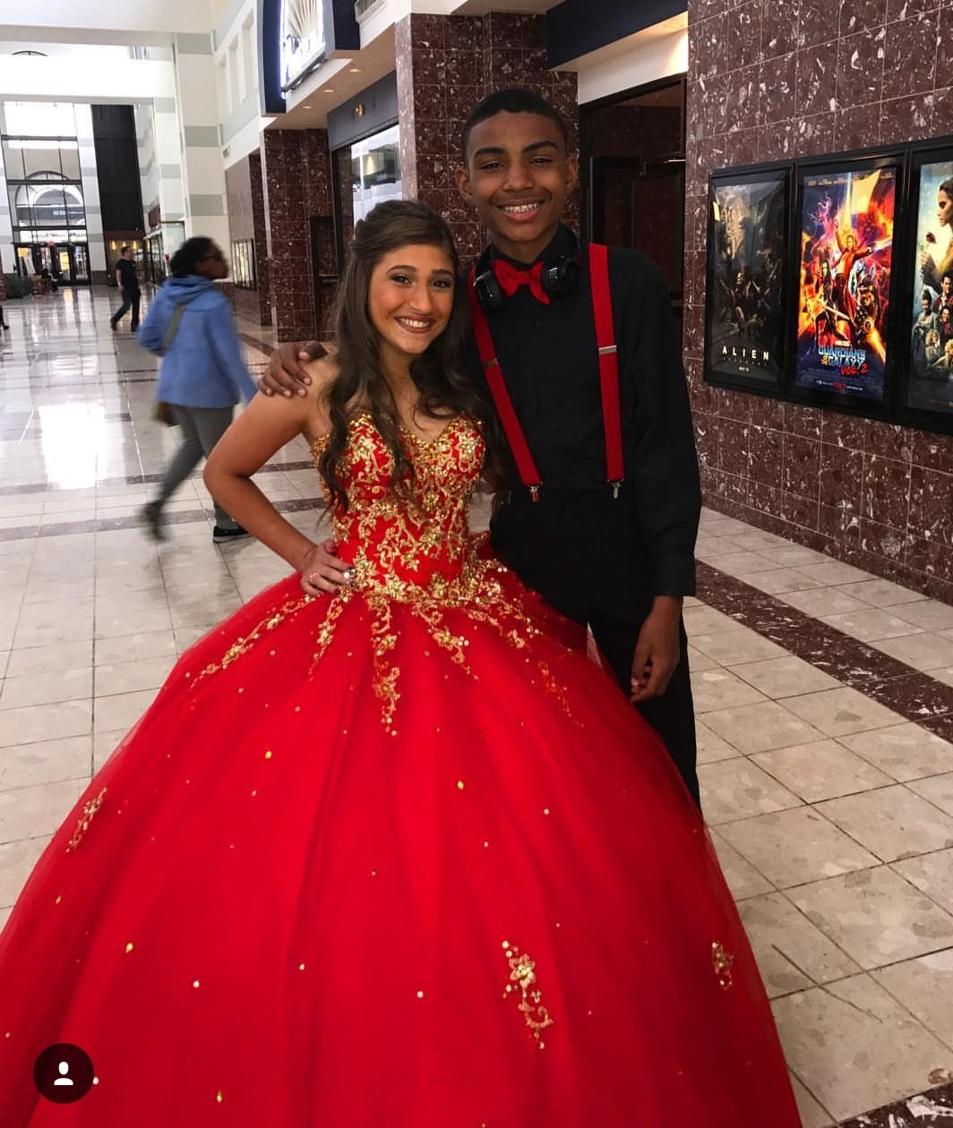 Quinceanera And Her Chambelan Of Honor Red Quinceanera