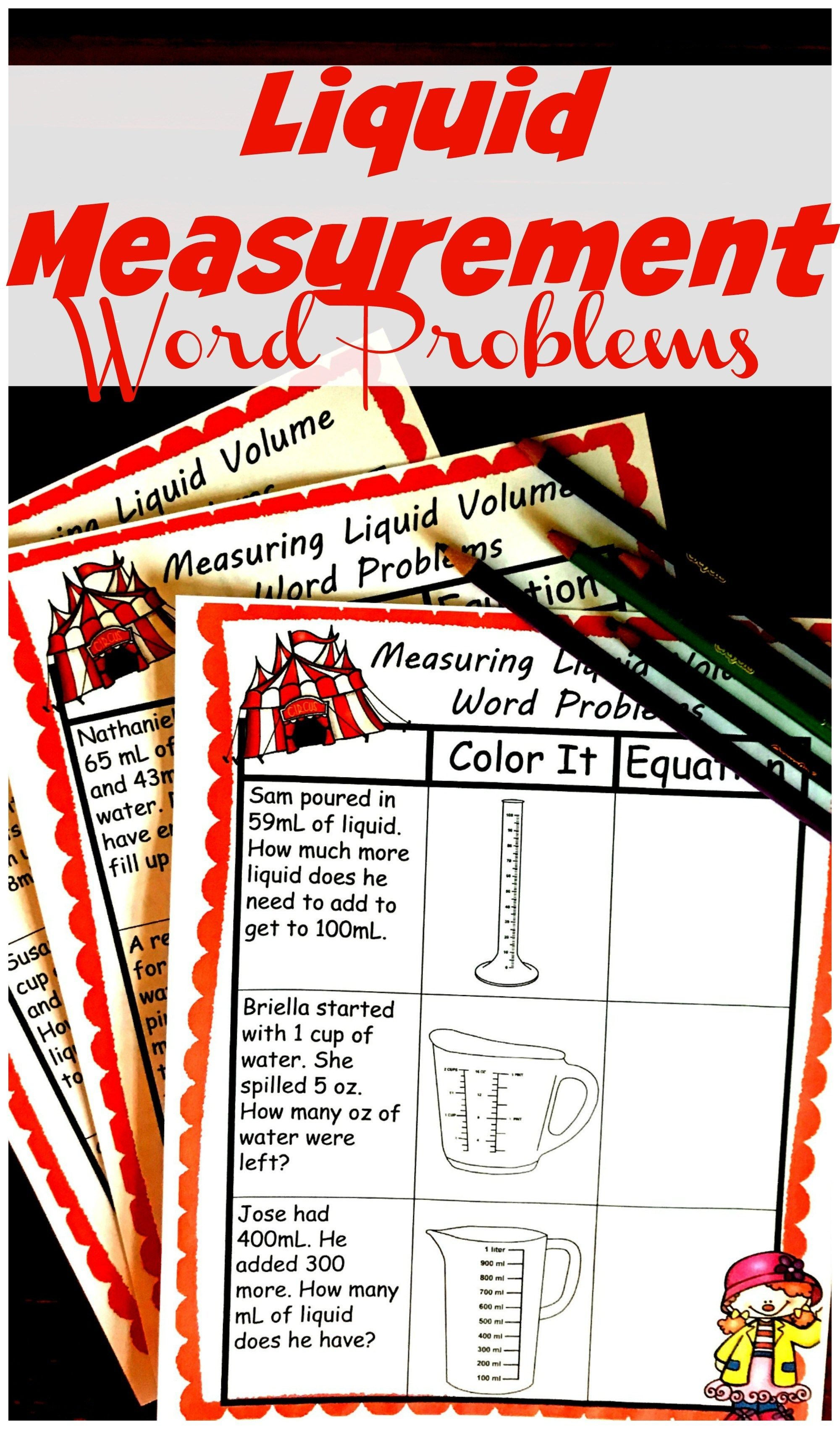 Free Hands On Liquid Measurement Word Problems