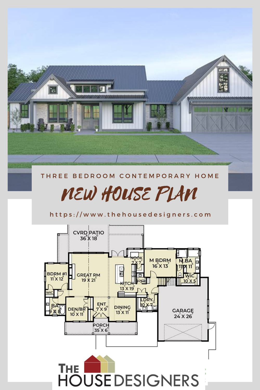 3 Bedroom Contemporary Farm House Style House Plan 8520 In 2020 New House Plans House Plans Architectural House Plans