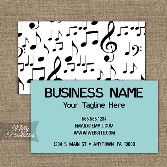 Music business cards printable double sided music teacher music business cards printable double sided music teacher singer musician dj reheart Images