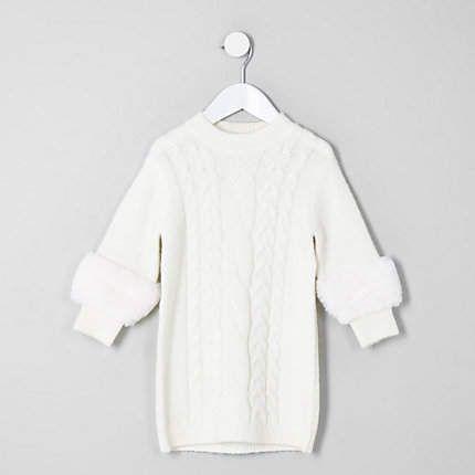 4a39ae836 River Island Mini girls cream faux fur sleeve sweater dress