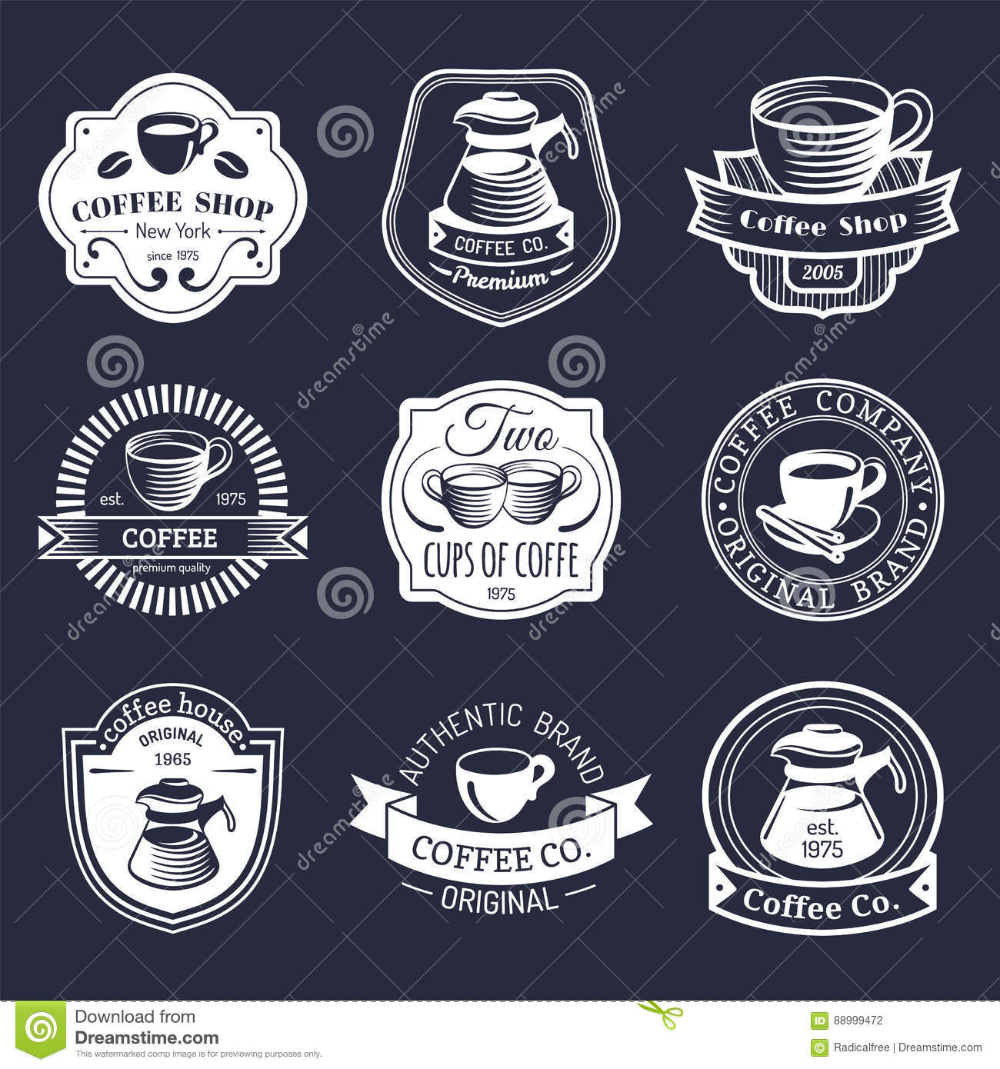 Vector Set Of Vintage Hipster Coffee Logos Modern Cafe Shop Restaurant Icons Emblems Collection Stock Vector I In 2020 Coffee Logo Hipster Coffee Restaurant Icon