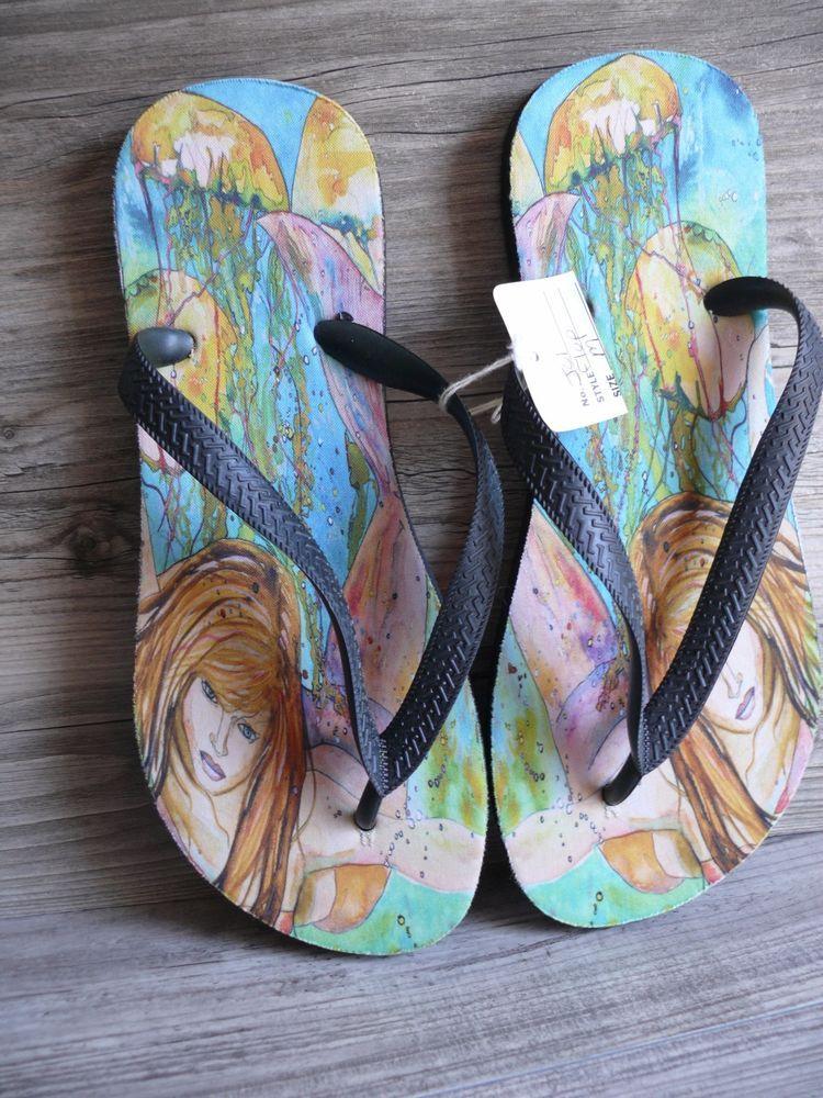 40a34ced931f35 Mermaid  amp  Jelly Fish Design Flip Flops Size Medium Colorful Design  Beach Summer  Unbranded