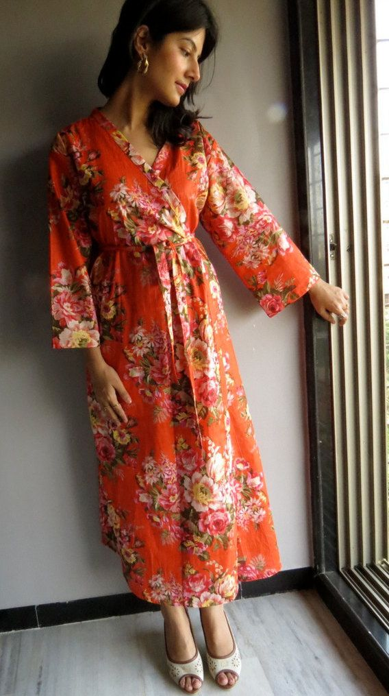 0d0e2c41eade3 Ankle length Kimono Robe Orange Floral Crossover by silkandmore, $35.00