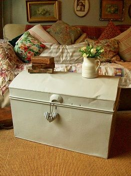 Antique tin trunk for sale at www.lavenderhousevintage.co.uk ...
