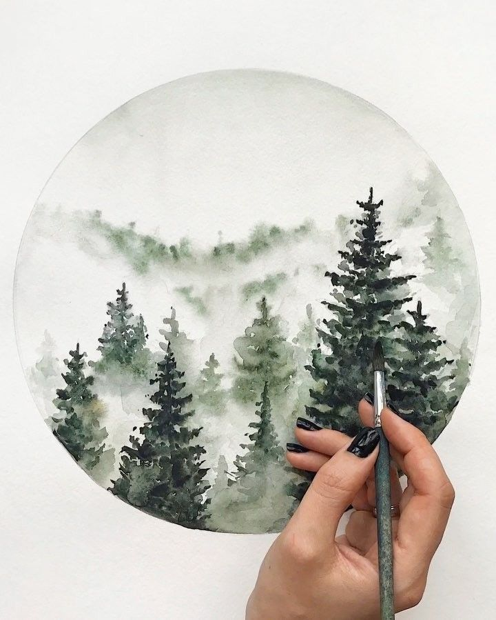 Watercolor drawing of the forest by Diana Lakshman... - #Diana #drawing #forest #wasserfarbenkunst