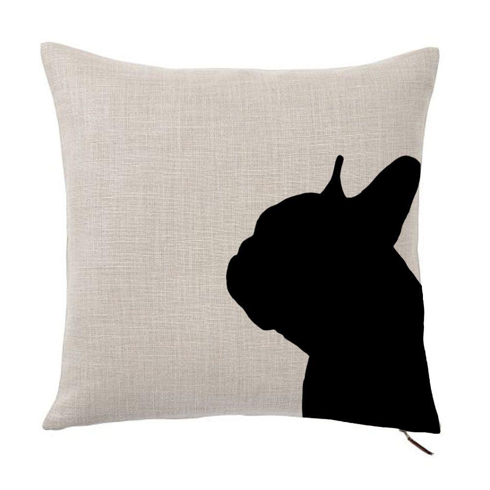 French bulldog silhouette portrait design cotton linen square