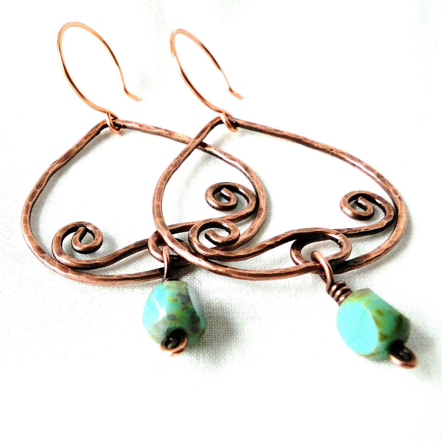 Antiqued Copper Earrings, Hammered Jewelry, Handcrafted, Wire ...