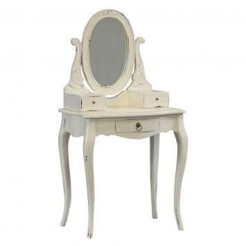 Queen Ann Dressing Table, Large, Brown/White