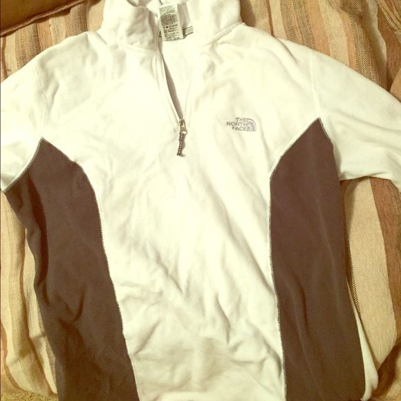 The North Face two-tone pullover Quarter zip. Fleece. White with grey on the sides. Light pullover! North Face Jackets & Coats