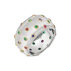Buccellati 18k White Gold & Multicolored Gemstone Band Ring