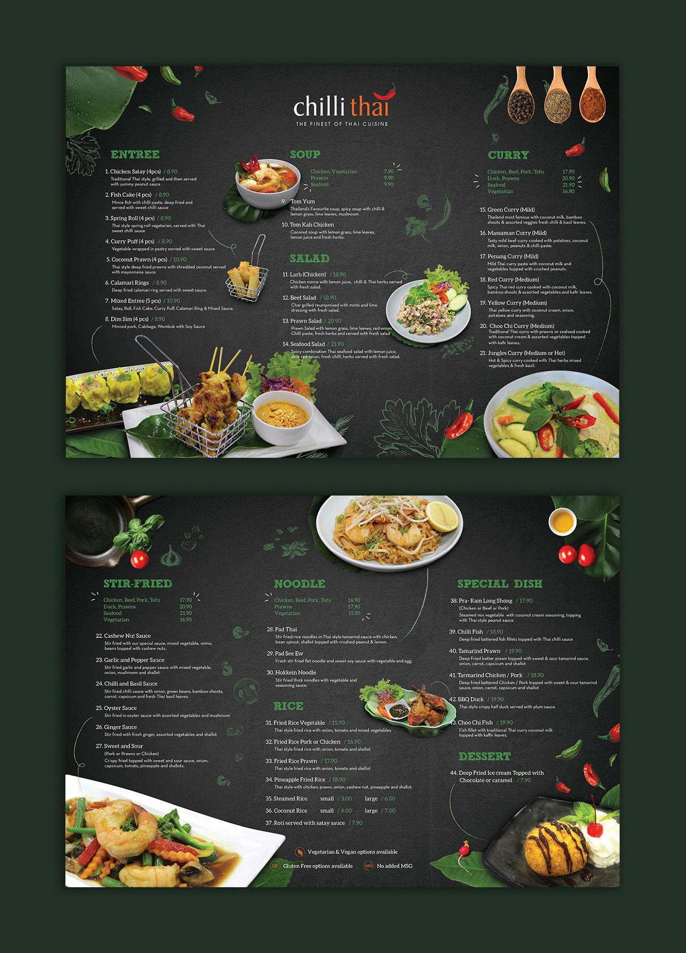 Chilli thai dine in takeaway menu on behance อาหาร
