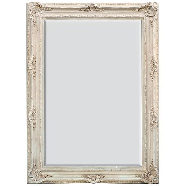 Mirror Large Wall Dressing Style Traditional White Wash Frame