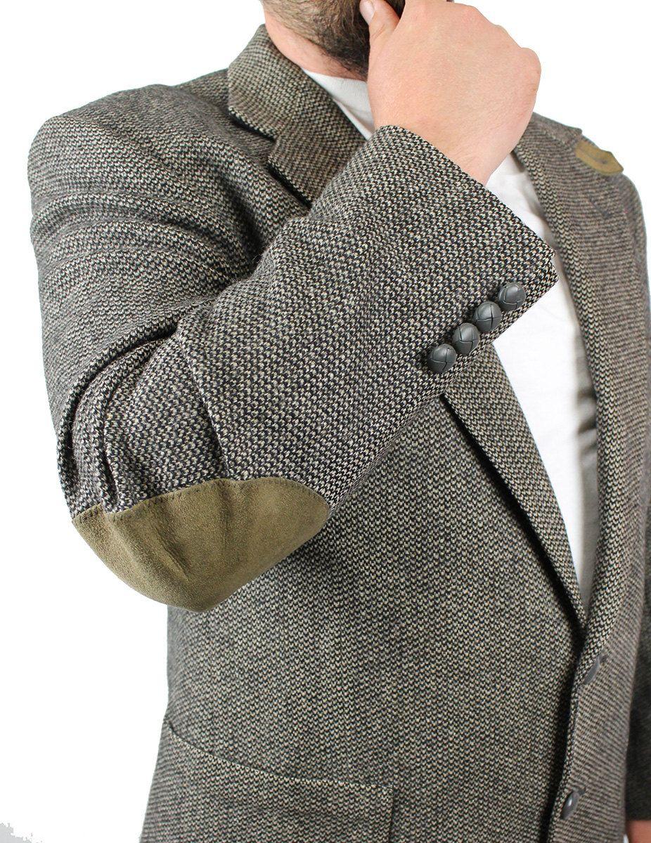 Elbow Patch Blazer 44R Vintage Gray Wool Tweed Professor