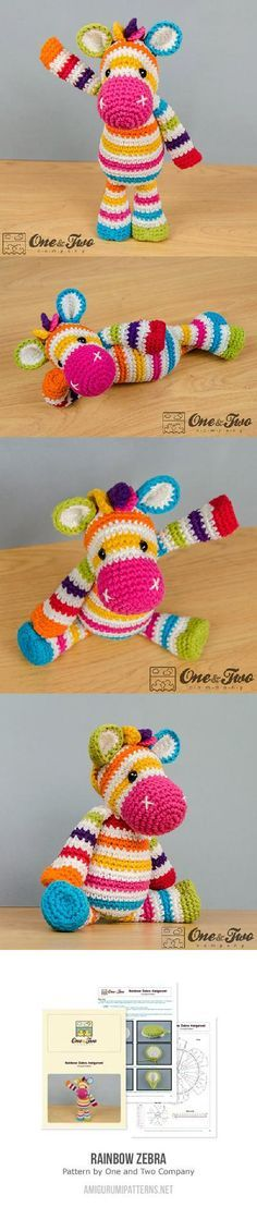 Rainbow zebra amigurumi pattern by One and Two Company | Bunt ...
