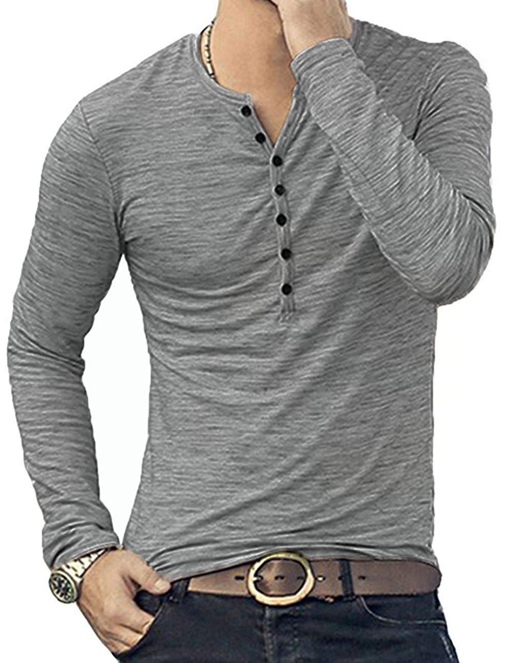 a13309d3209d KUYIGO Mens Casual Slim Fit Basic Henley Long Sleeve T-Shirt in 2019 ...