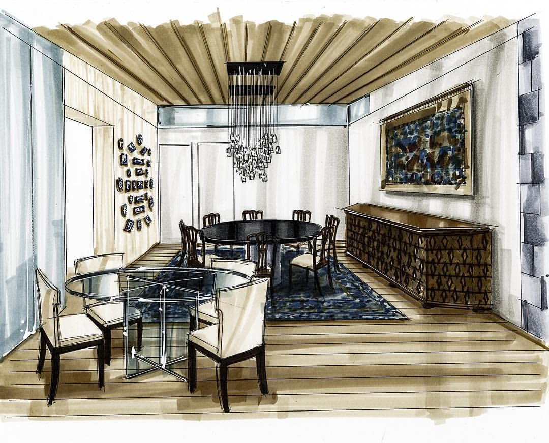 Dining room perspective drawing - Drawing
