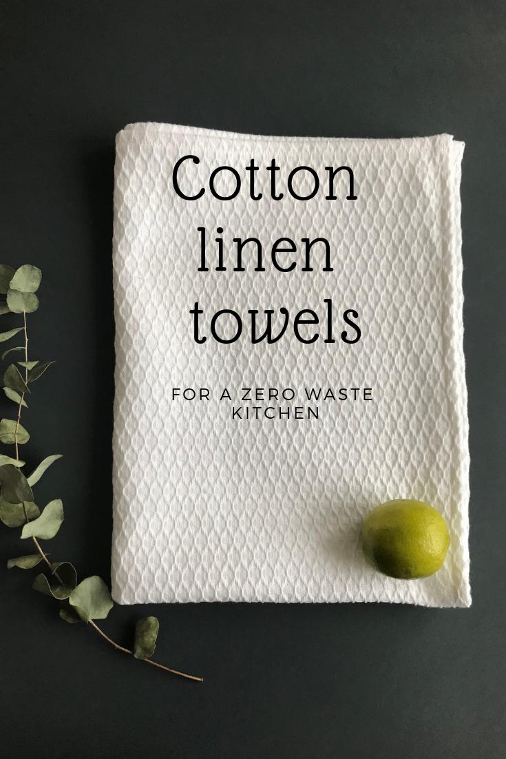 White Organic Cotton Linen Tea Towel