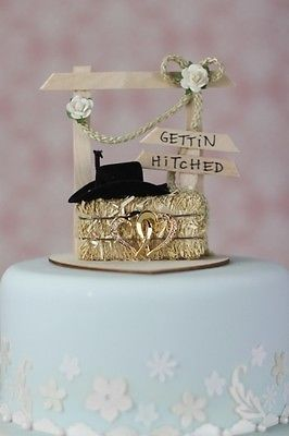 Gettin Hitched Western Country Cowboy Wedding Cake Topper With Hay Bale Hat