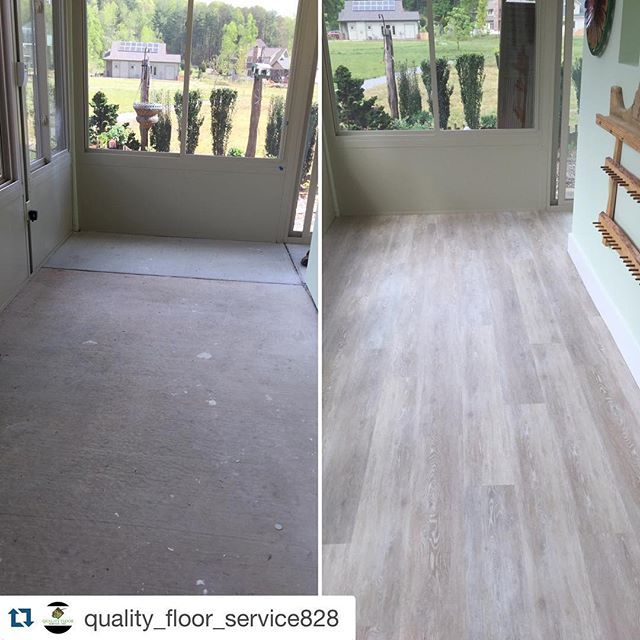 Before And After Coretec Plus Ivory Coast Oak Flooring Installation In Sunroom