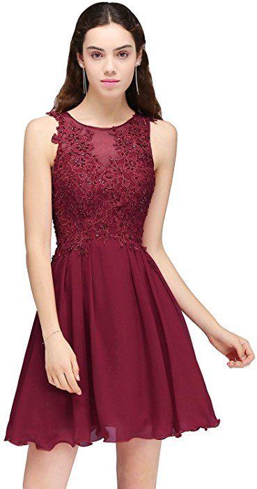 Damen Elegant Chiffon Kurz Abendkleid mit Strass ...