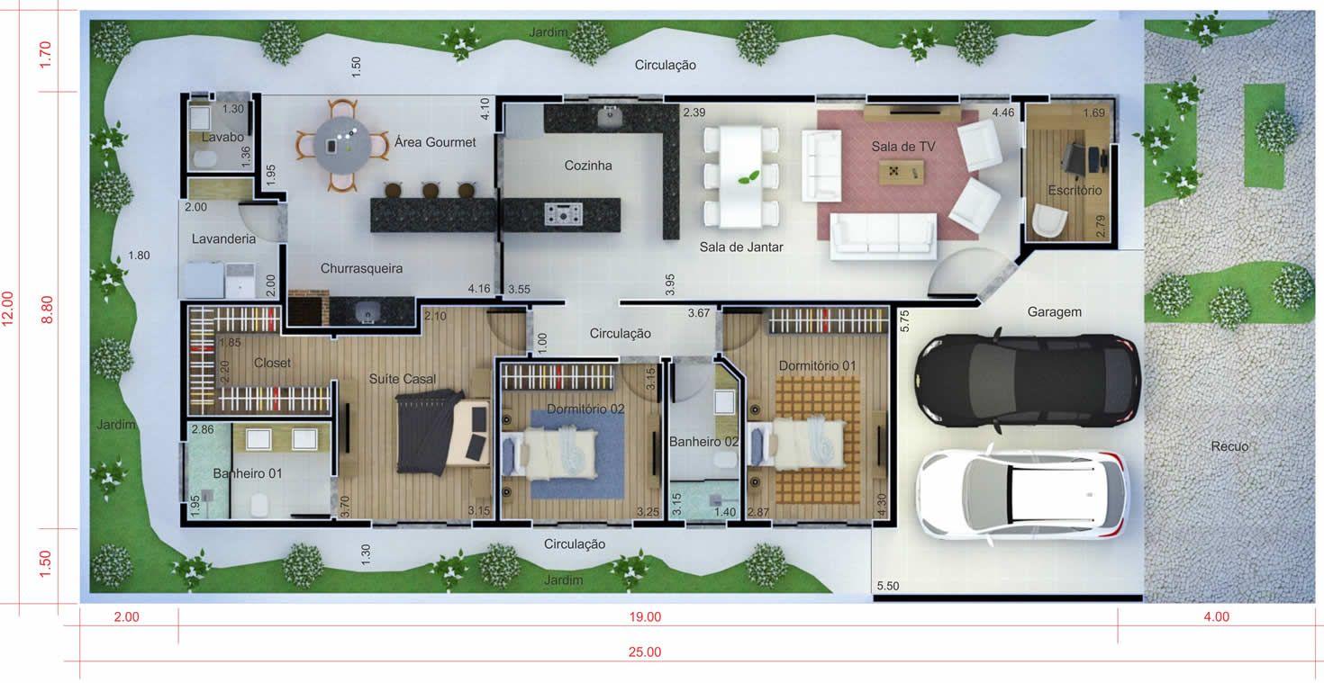 Planta de casa com telhado aparente planta para terreno for Fotos de casas modernas com telhado aparente