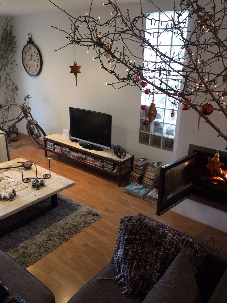 Mesa de centro y mueble TV hierro y madera reciclada
