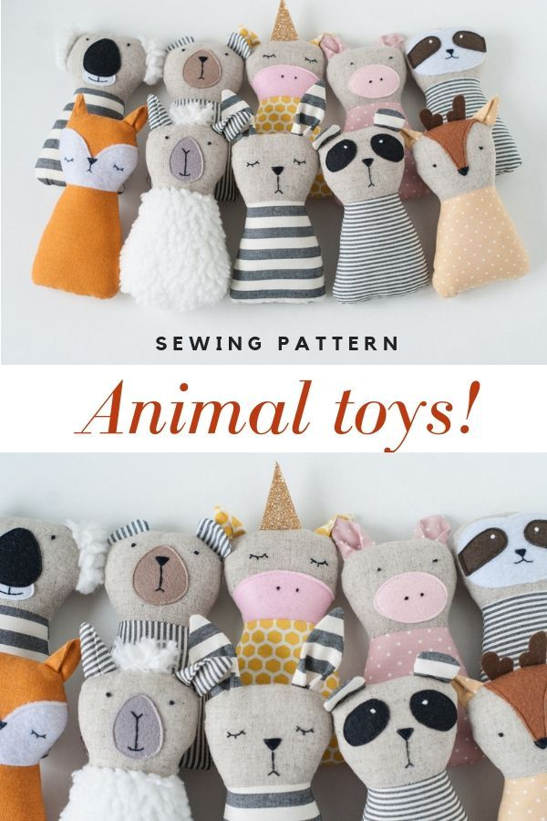 10 Animal doll sewing patterns PDF Kid craft diy t