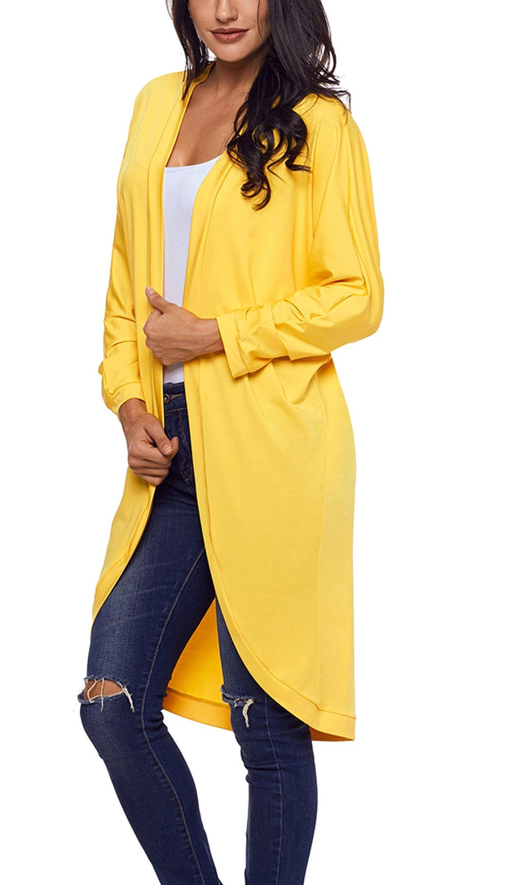 c9508557e7 Asvivid Womens Lightweight Ruched Long Sleeve Casual Open Front Spring  Shawl Cardigan Small Yellow    Details can be found by clicking on the  image.