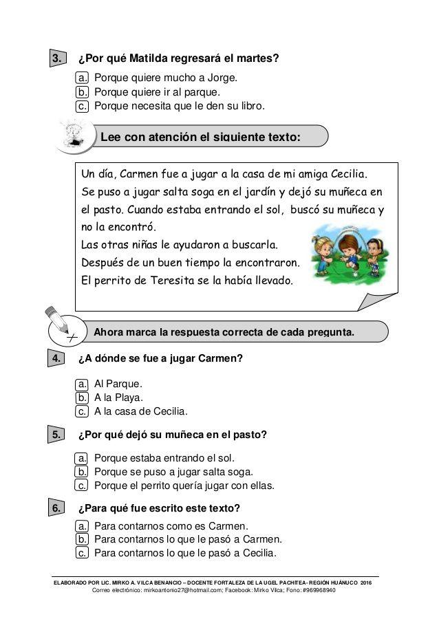 Ece Comunicacion Cuarto Grado De Primaria Iquitos Dia Del Niño Education
