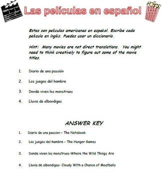 fun spanish worksheet movie titles spanish learning spanish worksheets middle school. Black Bedroom Furniture Sets. Home Design Ideas