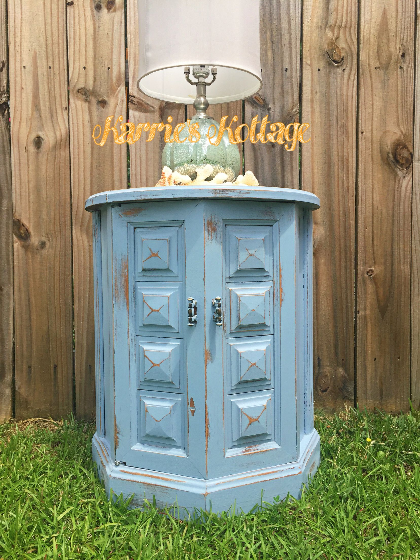 Elegant Beautiful Painted Light Blue Chest With Doors. Hand Painted Side Table  Distressed. Coastal Chic Style. Furniture Makeover From Local Artist Karrie  Farrar ...