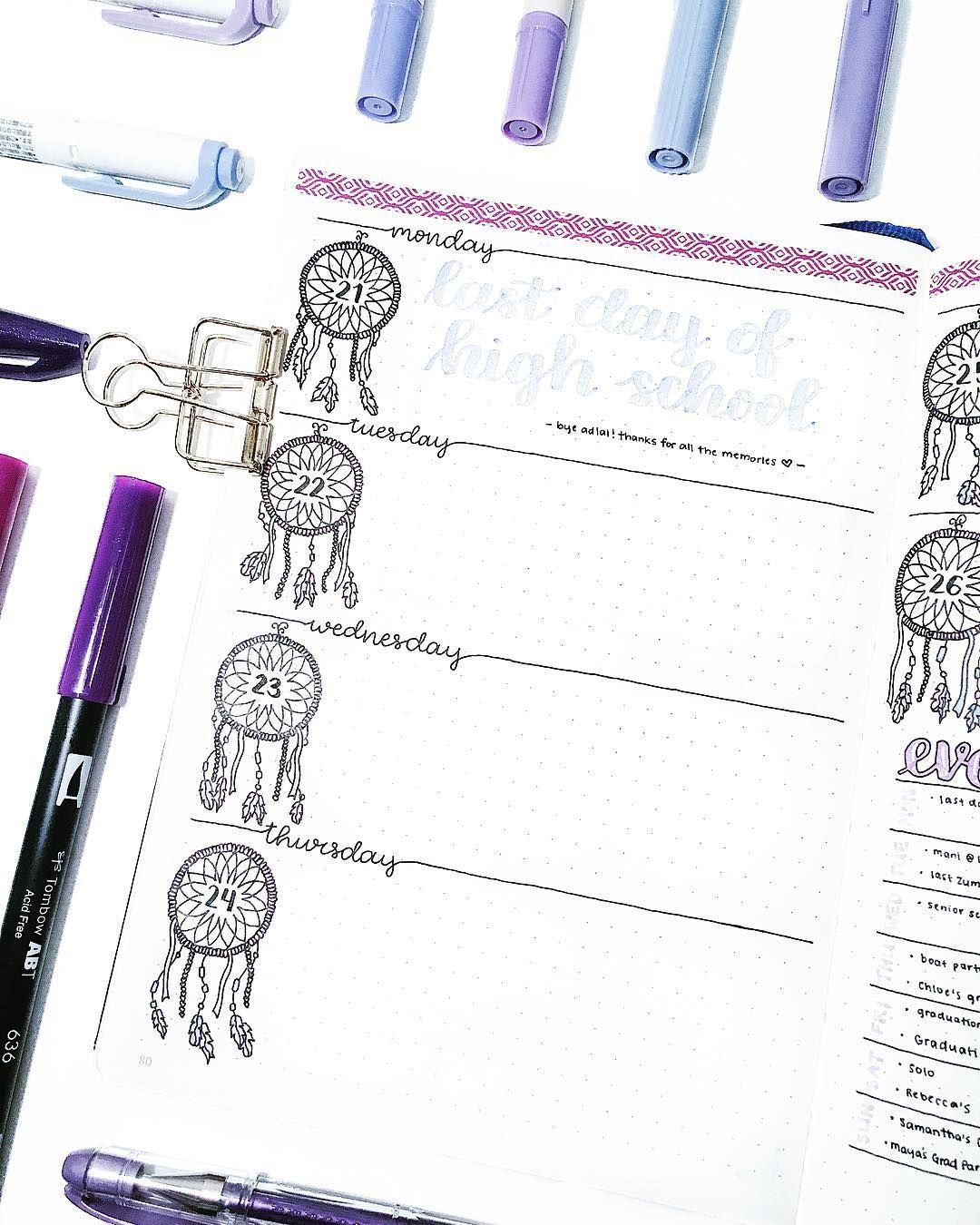 40 Inspiring Dream Catcher Bullet Journal Layout Ideas #augustbulletjournal