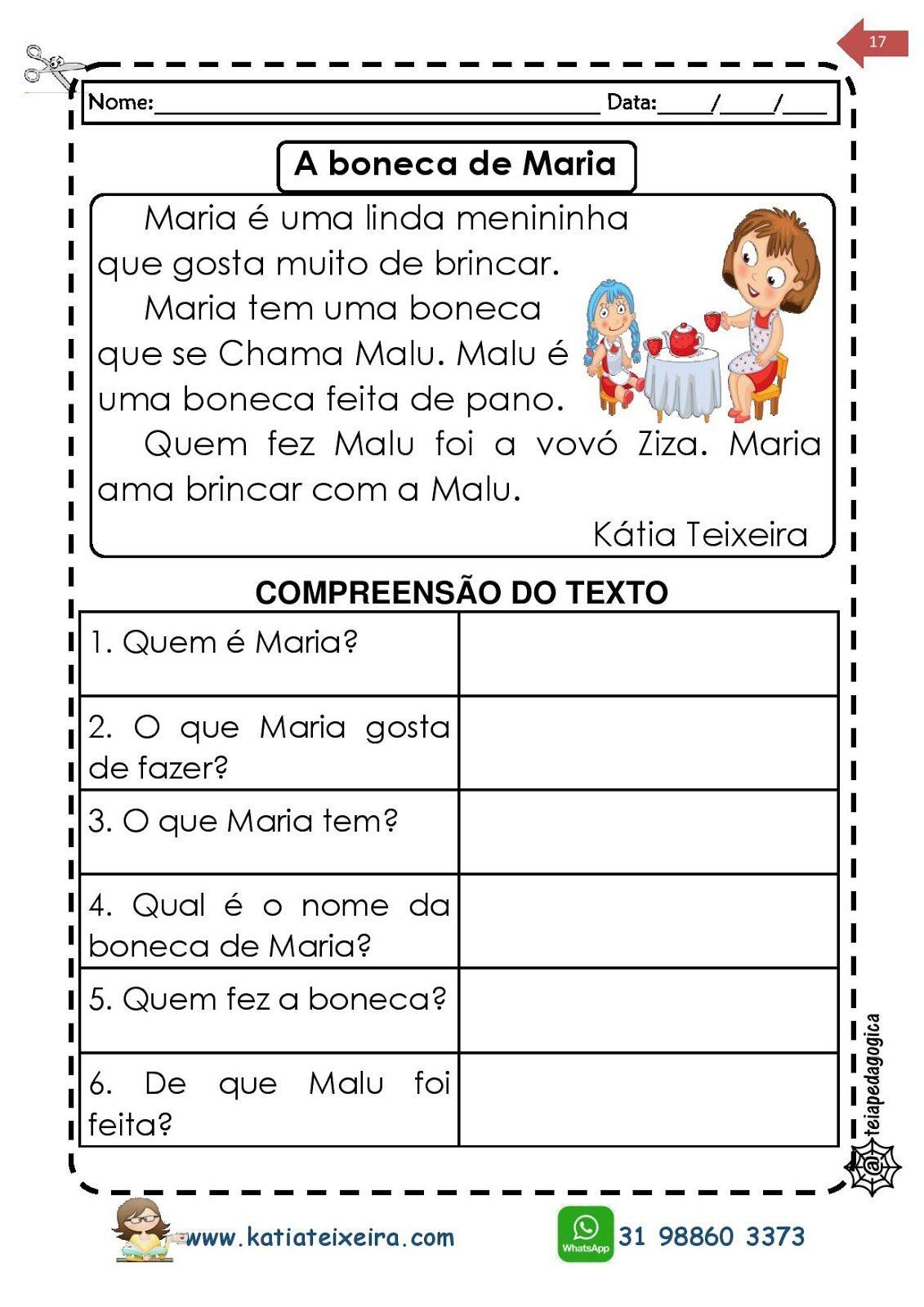 Texto A Boneca De Maria Atividades De Alfabetizacao 1º E 2º Anos