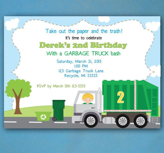 Garbage truck birthday invitations recycling party garbage truck new garbage truck invitation recycling party by lindsayisartsy filmwisefo Image collections