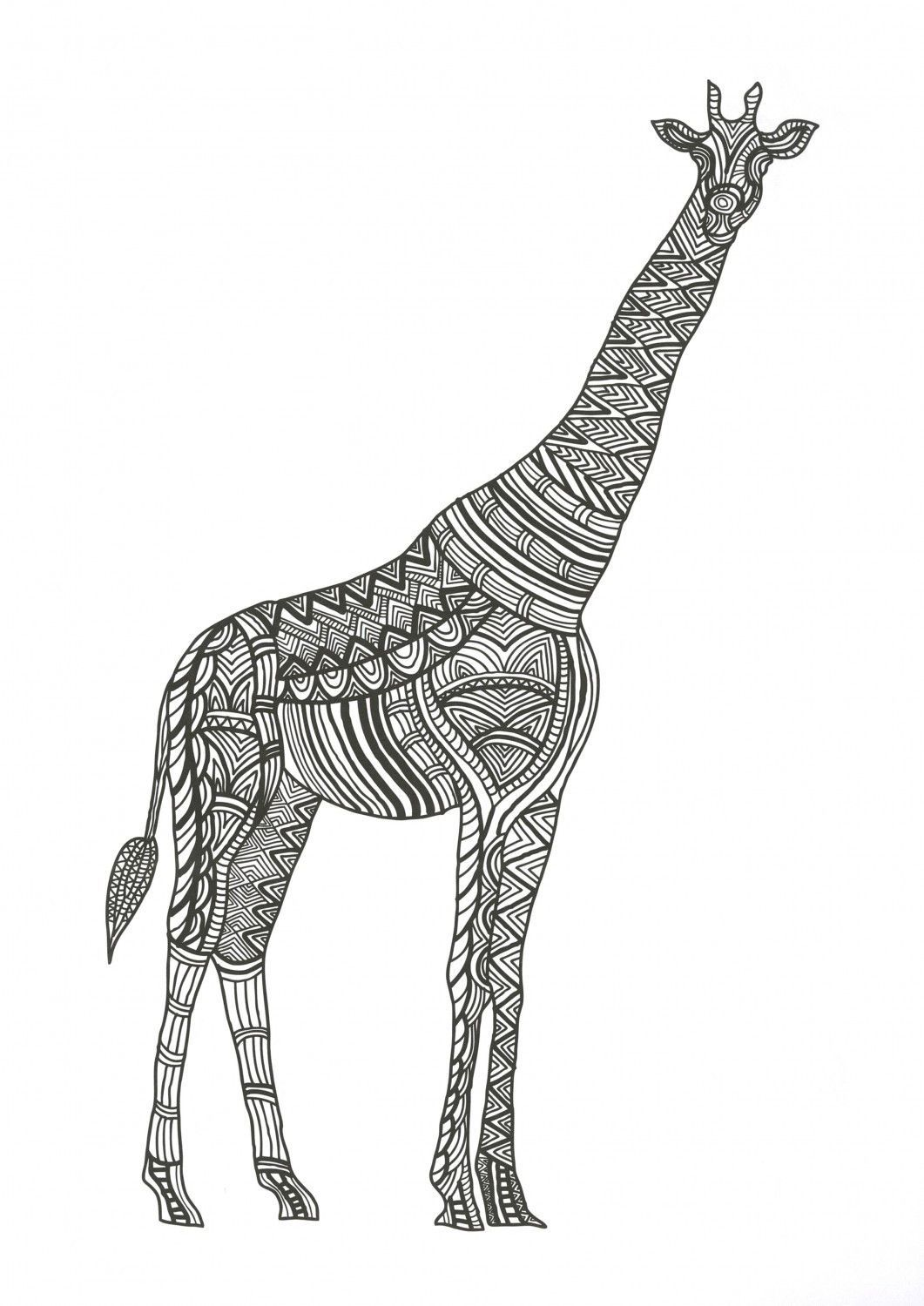 Coloriage Adulte Girafe.Zen Coloring Animals Adult Coloring Book Coloriage