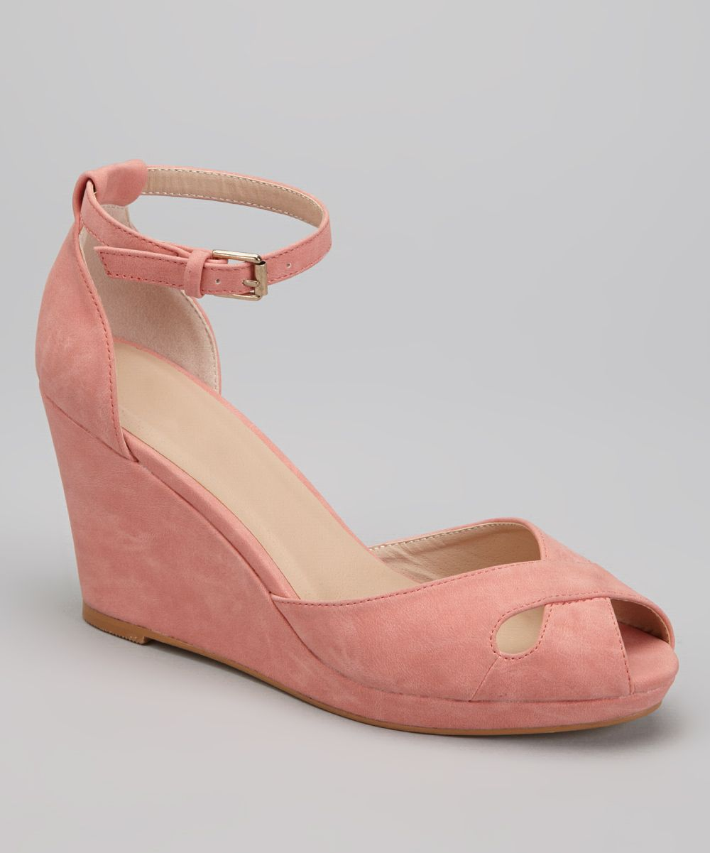 coral peep toe wedge