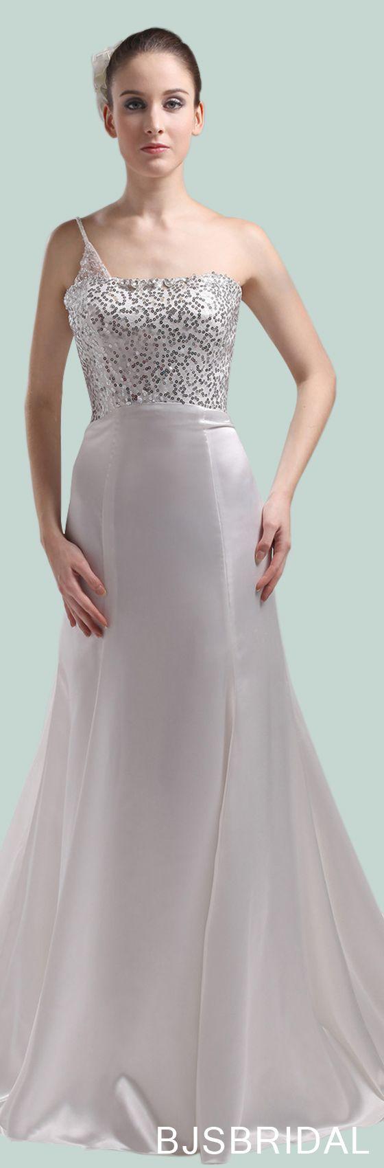 White Elegant Garden One Shoulder Sleeveless Backless Silk Like ...