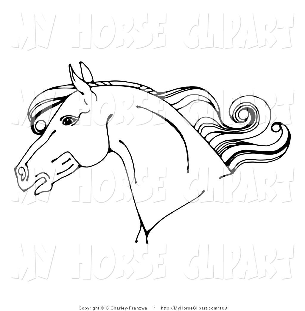 Clip Art Of A Black And White Horse Head In Profile Facing Left