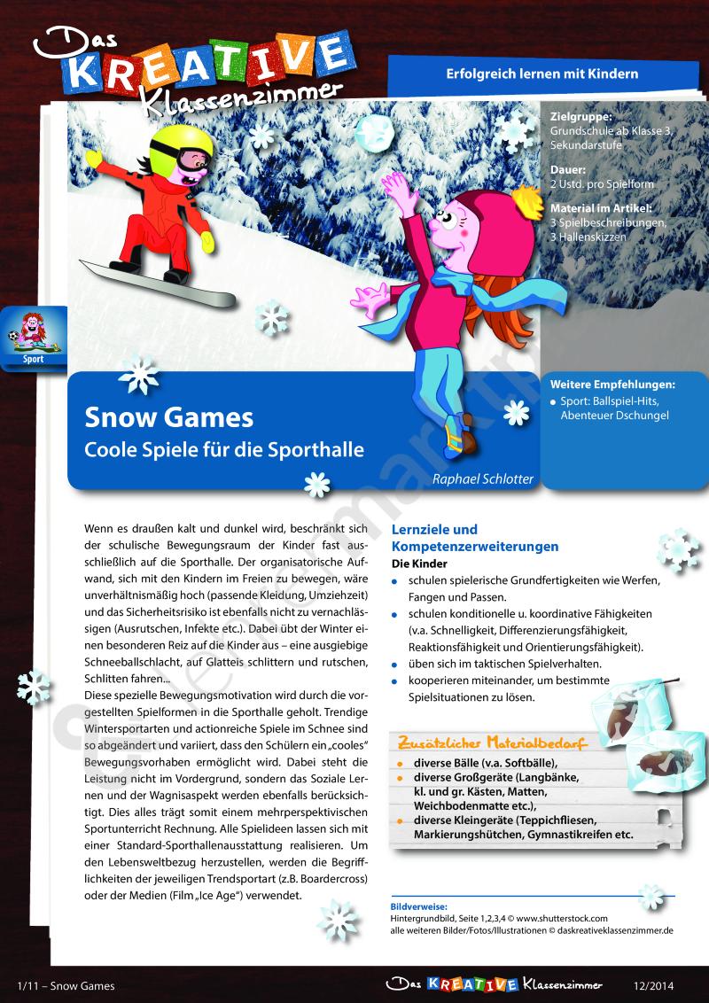 Snow Games - Coole Spiele für die Sporthalle – Sport | Pinterest ...