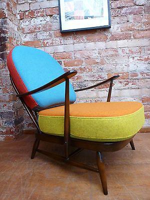 60u0027s Retro Ercol 203 Windsor Arm Chair Multi Coloured Wool Cushions Vintage
