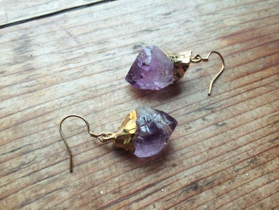Quartz Crystal Earrings Long Earrings Raw Amethyst Crystal Earrings Quartz Earrings Natural Amethyst Earrings Quartz Gemstone Earrings
