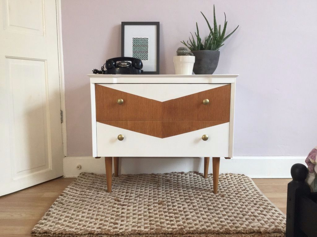 Upcycled Mid Century Chest of Drawers with Chevron Design (free ...