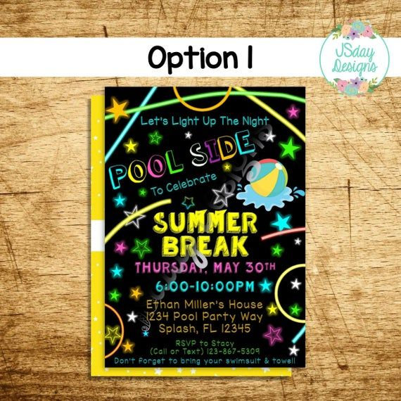 School's out for Summer Pool Party Invite; summer break; glow in the dark; night swim; tween party; teen party; kids party; neon; glow stick #summerpoolparties