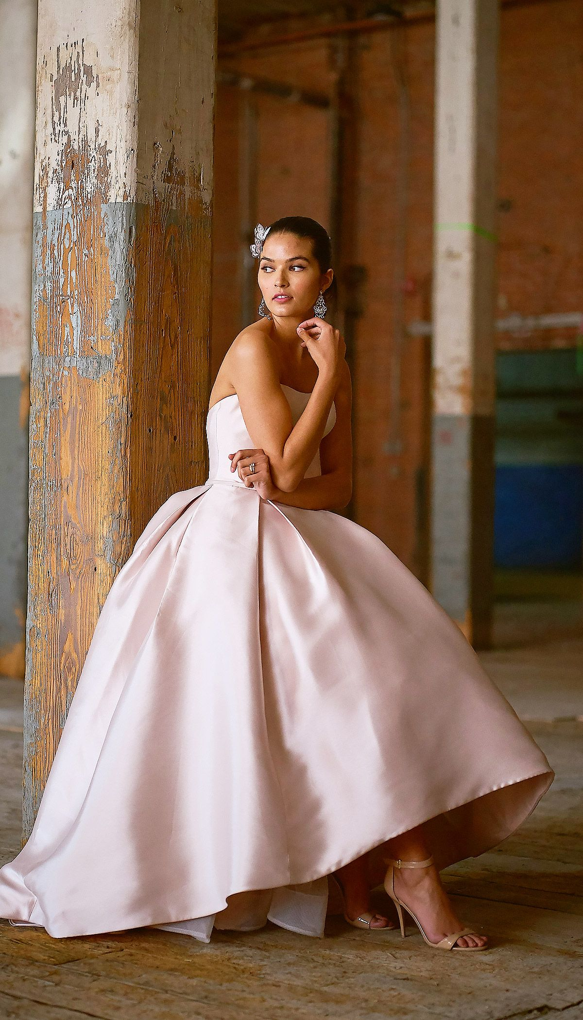 59c89e82054d This Reena Mikado ballgown features a strapless scoop neckline