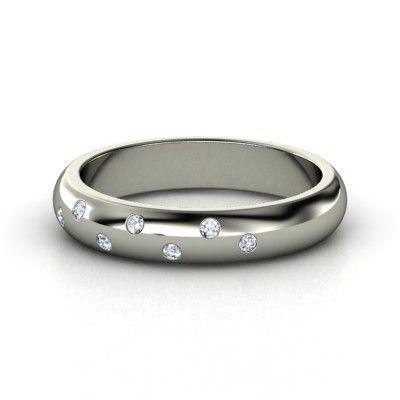 Starry Night Ring - 14K White Gold Ring with Diamond & Diamond